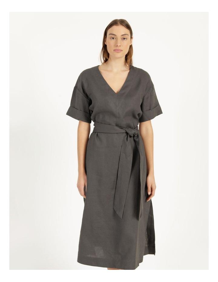 Organic Linen Short Sleeve Linen Dress Black image 2