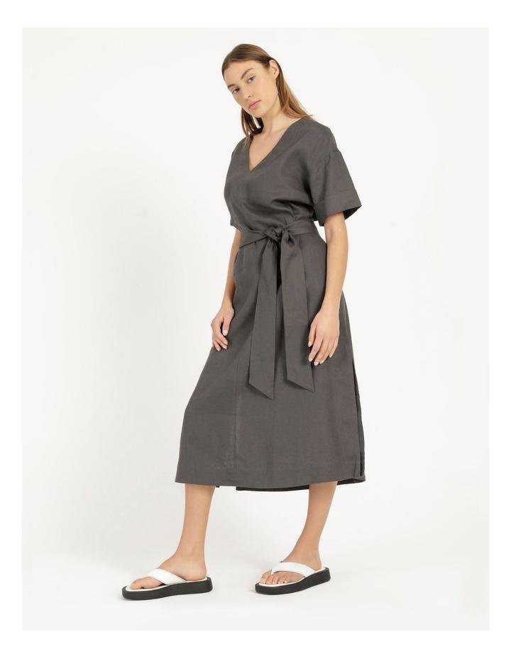 Organic Linen Short Sleeve Linen Dress Black image 3