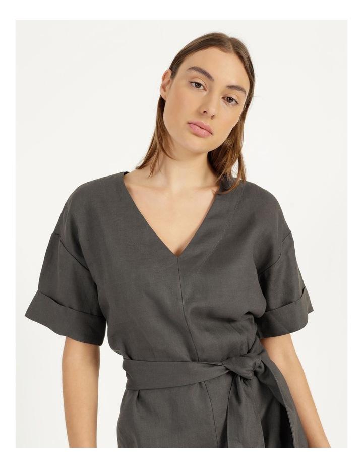 Organic Linen Short Sleeve Linen Dress Black image 4