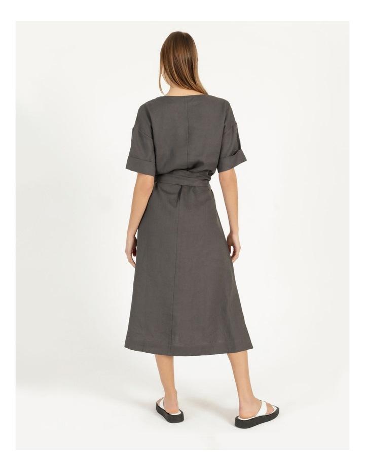 Organic Linen Short Sleeve Linen Dress Black image 5