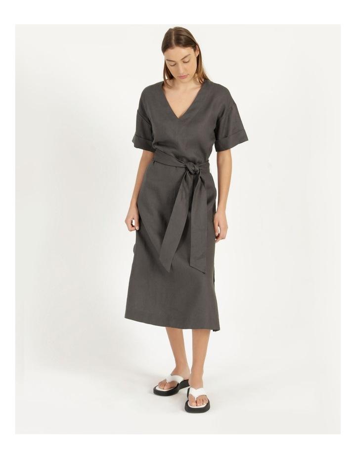 Organic Linen Short Sleeve Linen Dress Black image 6
