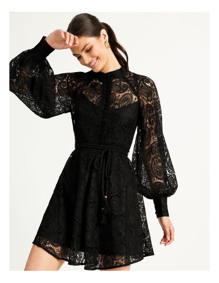 Lace Button Through Dress Black image 1