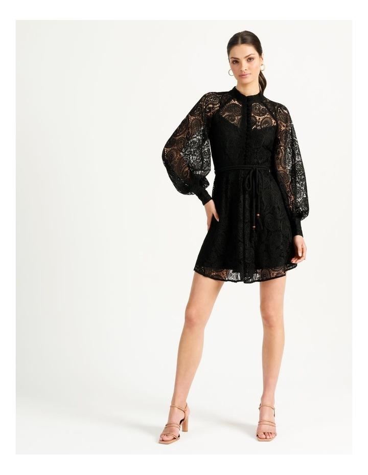 Lace Button Through Dress Black image 3