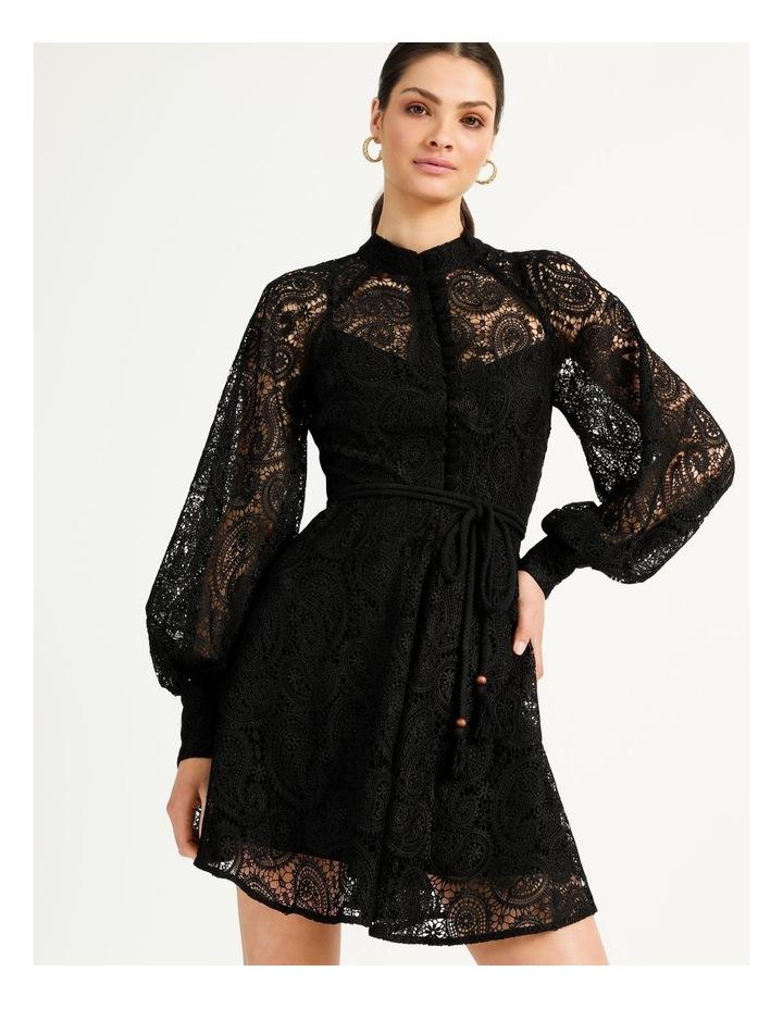 Lace Button Through Dress Black image 4