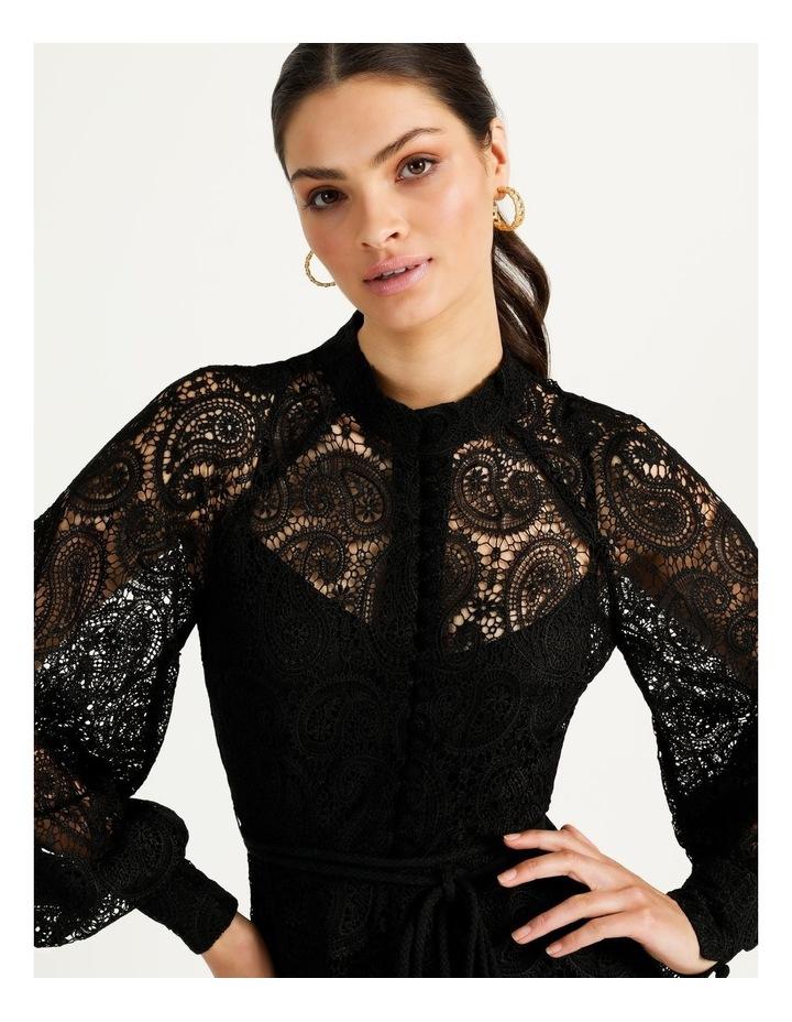 Lace Button Through Dress Black image 7
