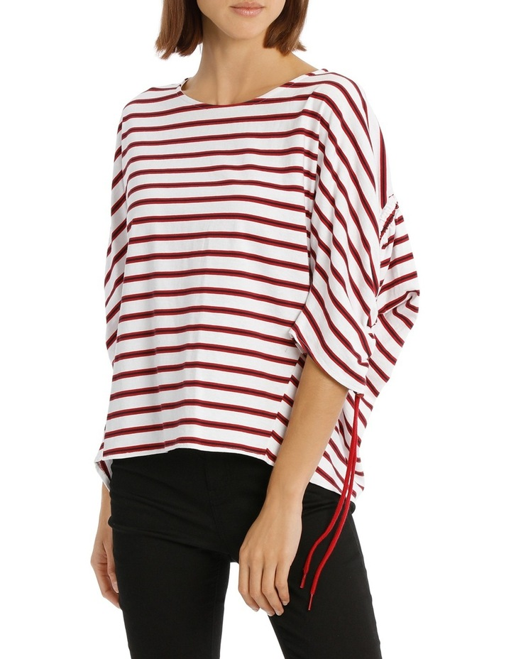 Tee Rouched Sleeve - striped image 1