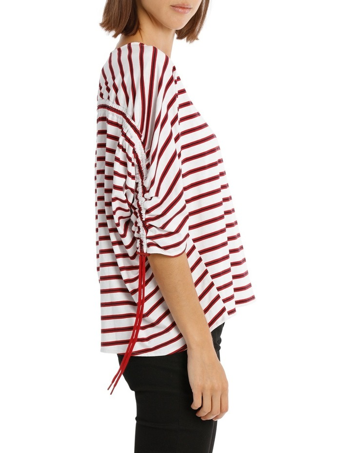 Tee Rouched Sleeve - striped image 2
