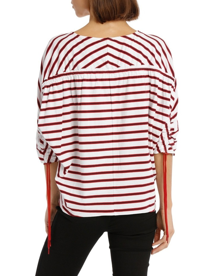 Tee Rouched Sleeve - striped image 3