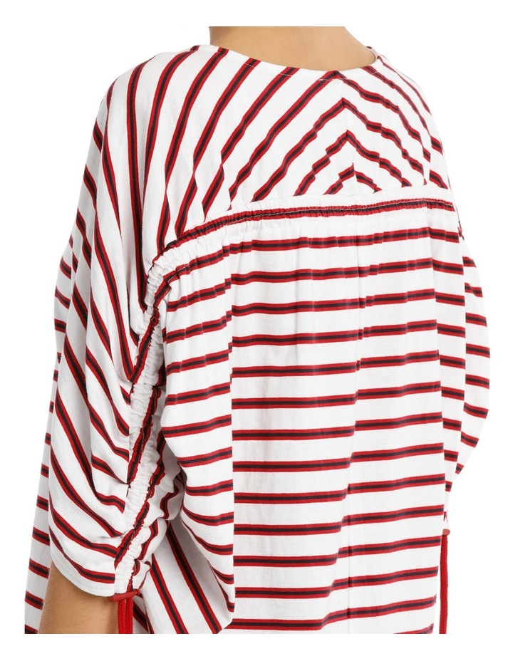 Tee Rouched Sleeve - striped image 4