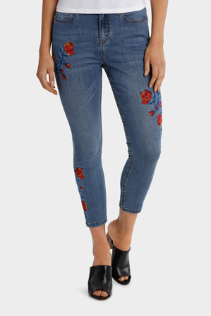 Grab - Jean Cross Stitch Embroidery - Slim Leg