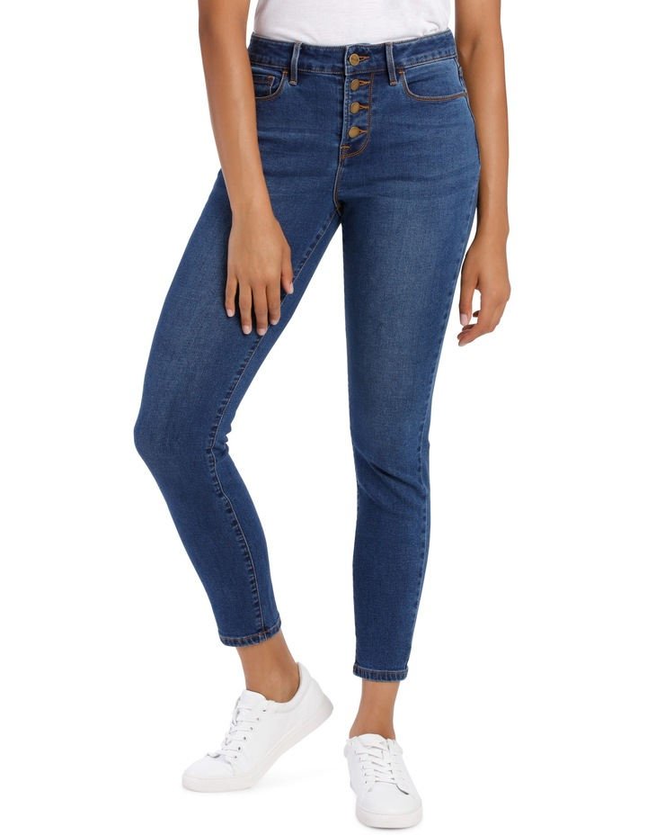 Melrose Mid Rise Skinny Jean Button Front image 1