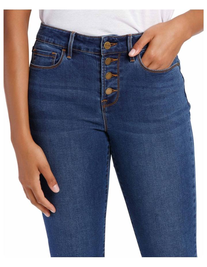 Melrose Mid Rise Skinny Jean Button Front image 4