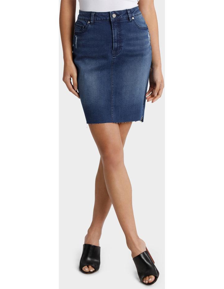Denim Skirt with Frayed Hem image 1