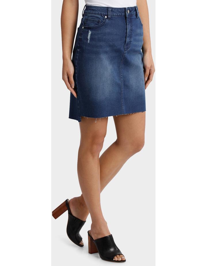 Denim Skirt with Frayed Hem image 2