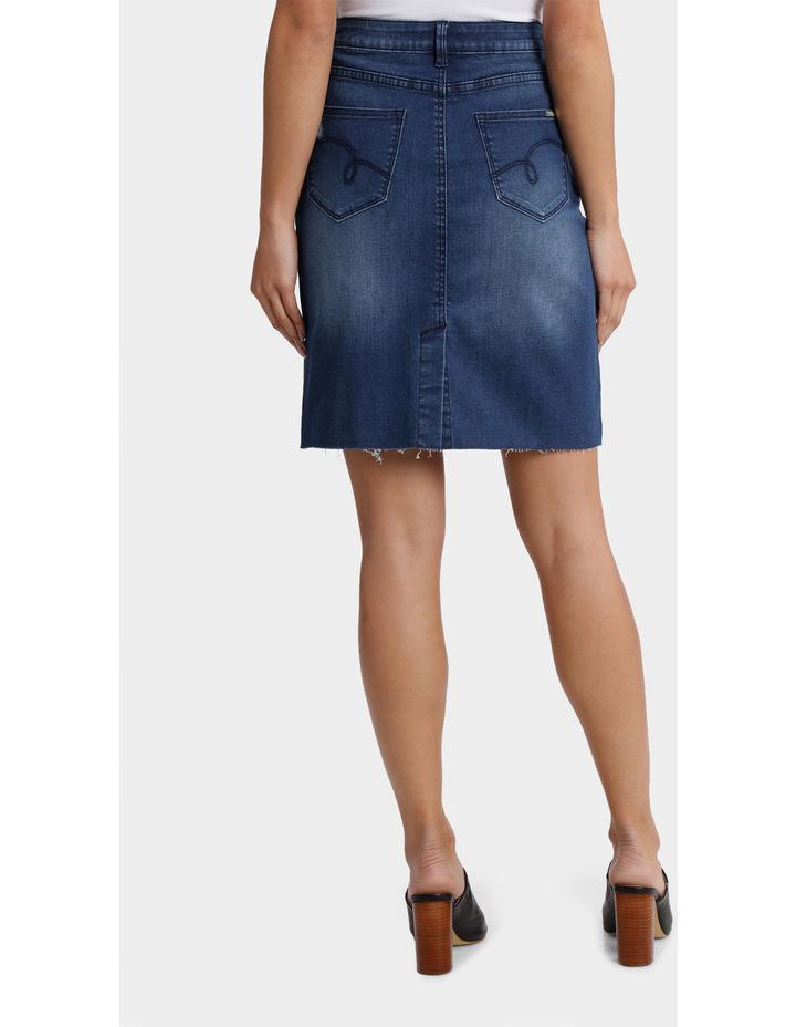 Denim Skirt with Frayed Hem image 3
