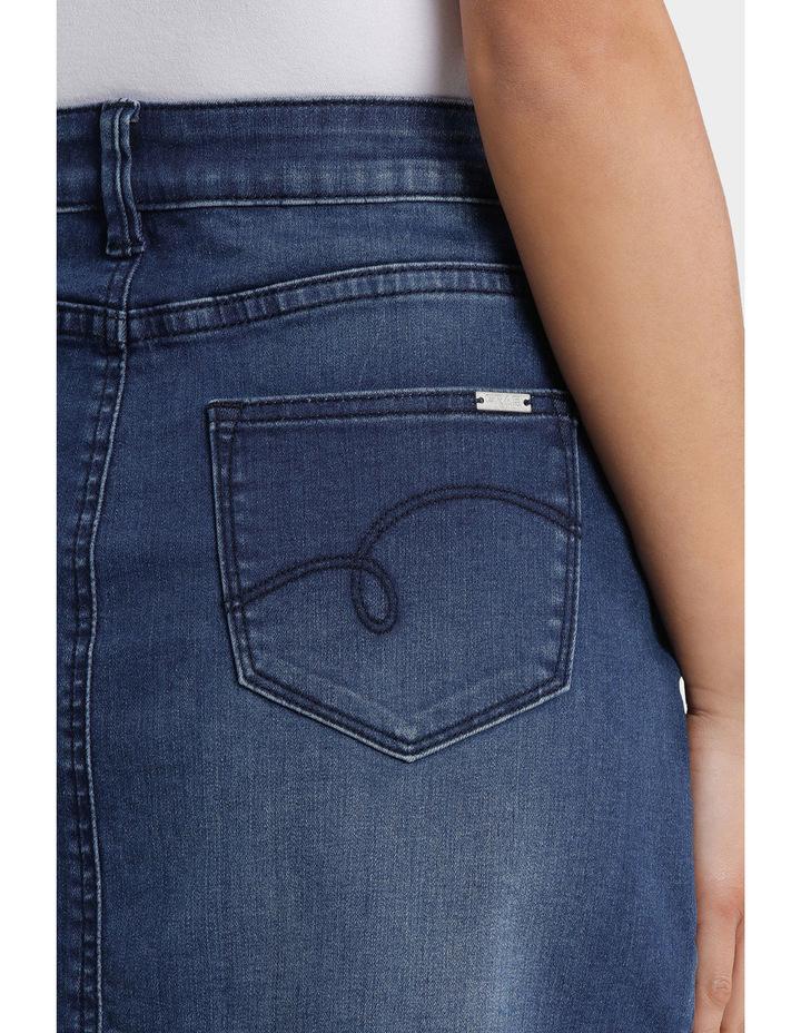 Denim Skirt with Frayed Hem image 4