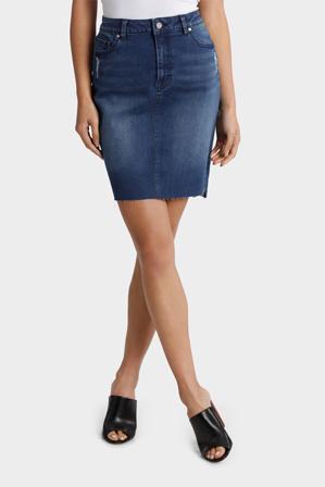 Grab - Denim Skirt with Frayed Hem