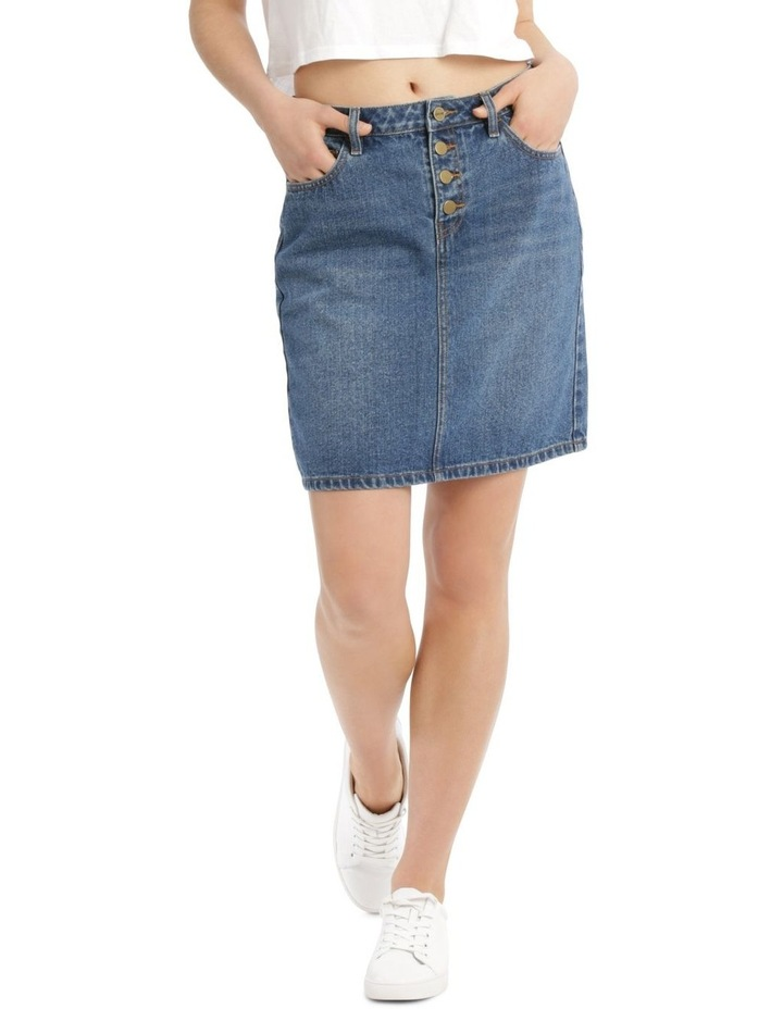Button Fly Denim Straight Skirt image 1