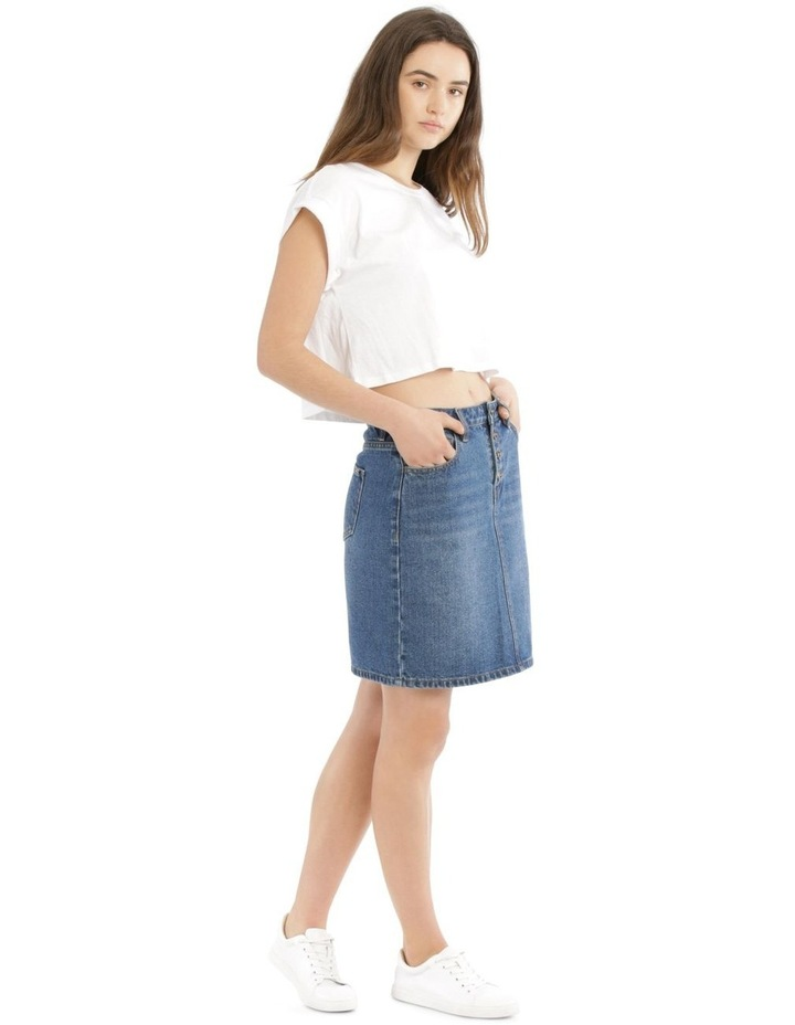 Button Fly Denim Straight Skirt image 2