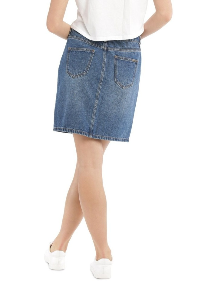 Button Fly Denim Straight Skirt image 3