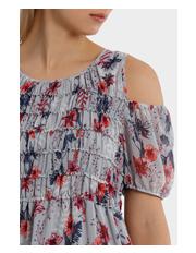 Grab - Dress Cold Shoulder Midi Print