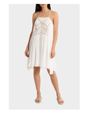 Grab - Embroidered Dress with Hanky Hem