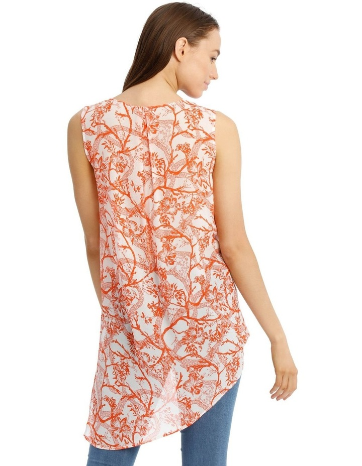 Cross Front Sleeve Print Top image 3