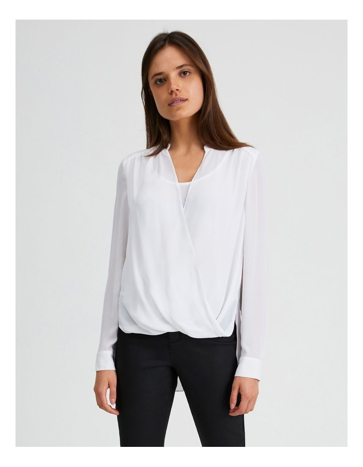 Long Sleeve Wrap Front Blouse image 1