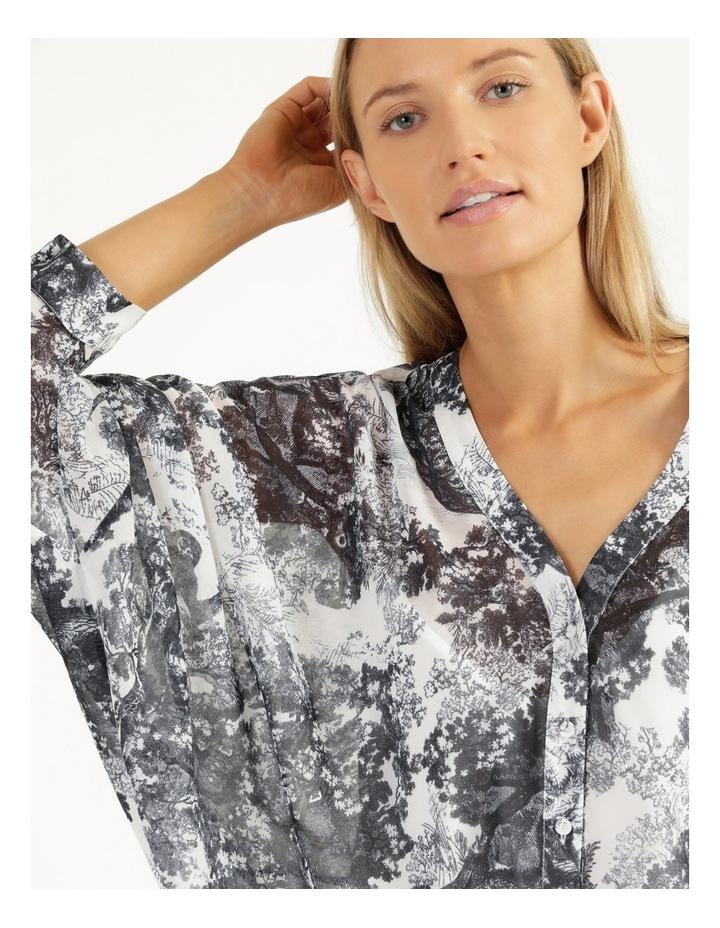 Oversized Batwing Shirt Grey/ White Print image 1