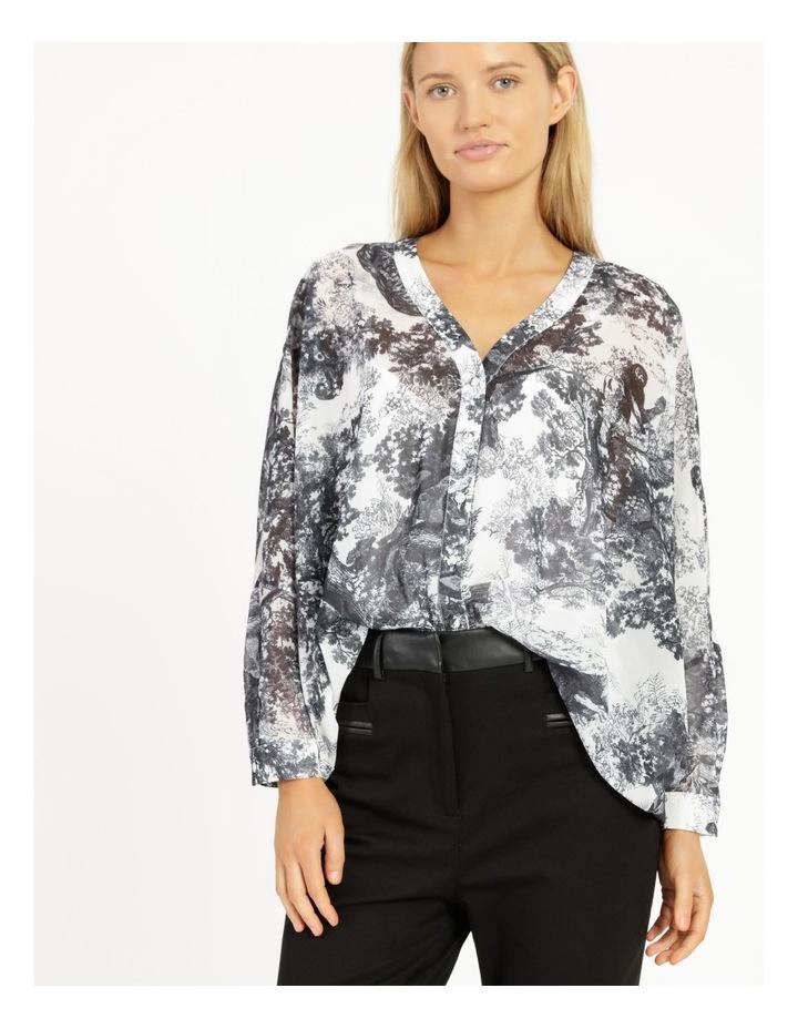 Oversized Batwing Shirt Grey/ White Print image 2