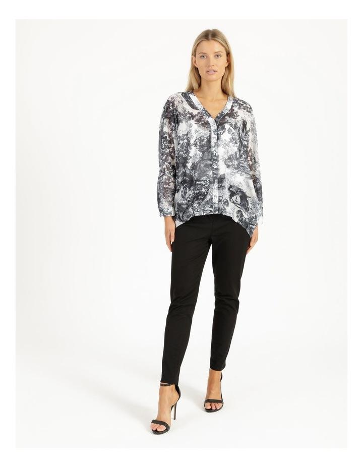 Oversized Batwing Shirt Grey/ White Print image 3