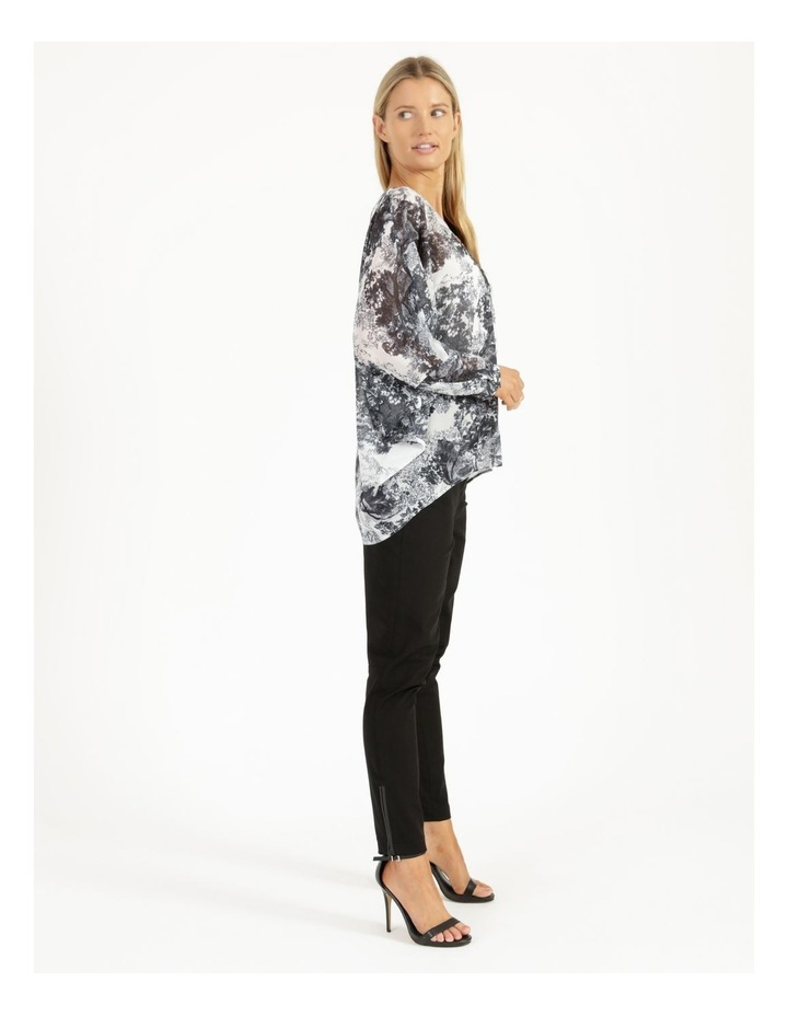 Oversized Batwing Shirt Grey/ White Print image 4