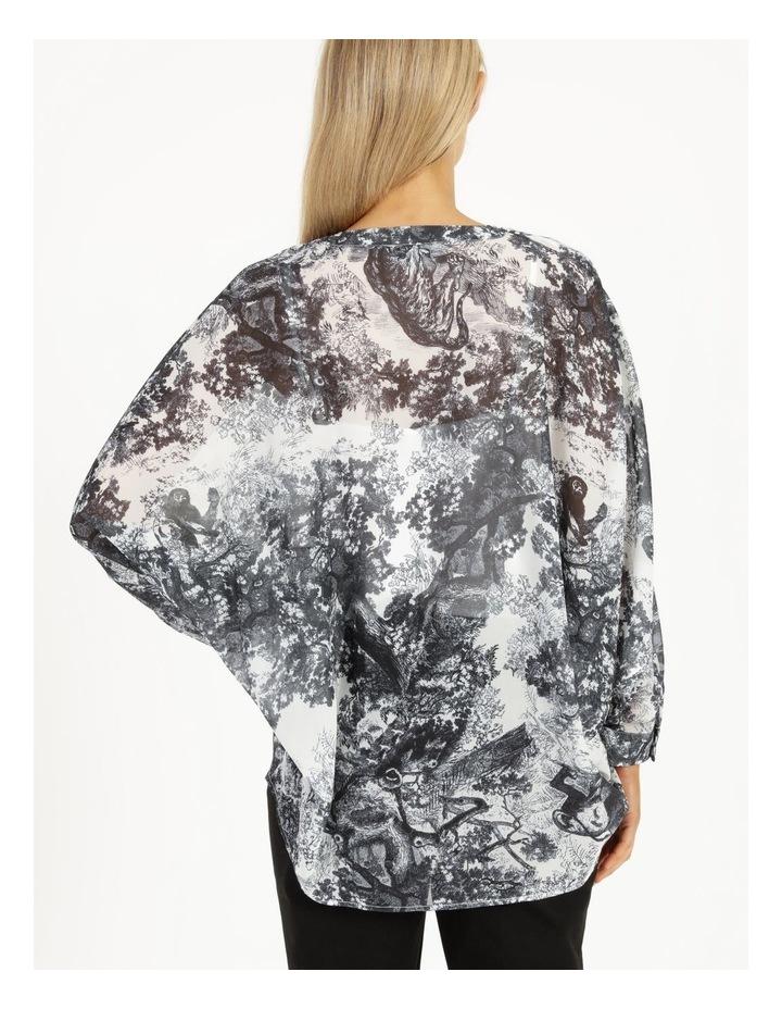 Oversized Batwing Shirt Grey/ White Print image 5