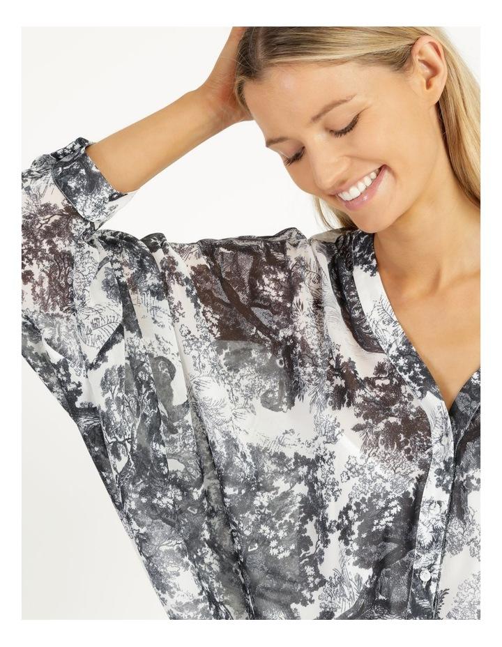 Oversized Batwing Shirt Grey/ White Print image 6