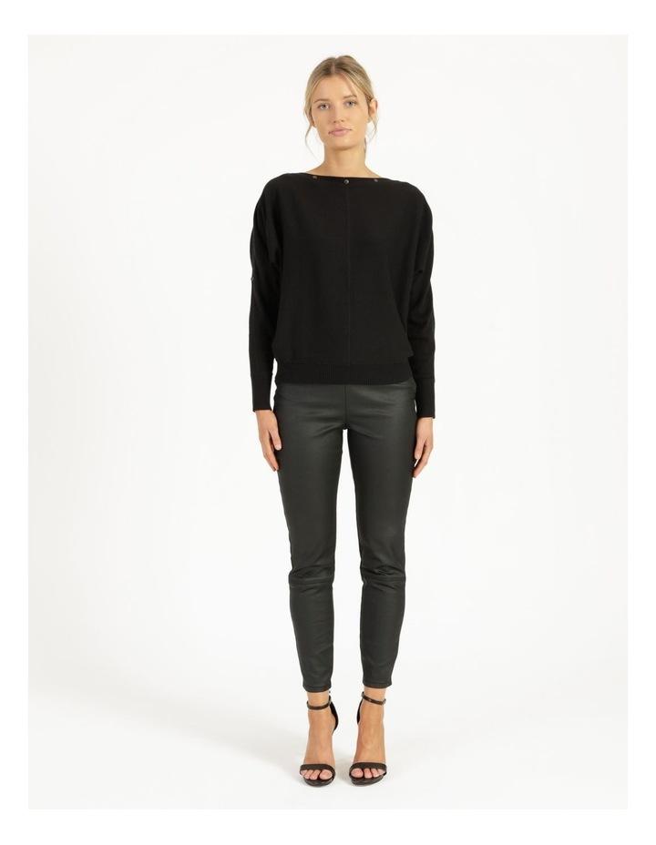 Drop Shoulder Long Sleeve Top Black image 2