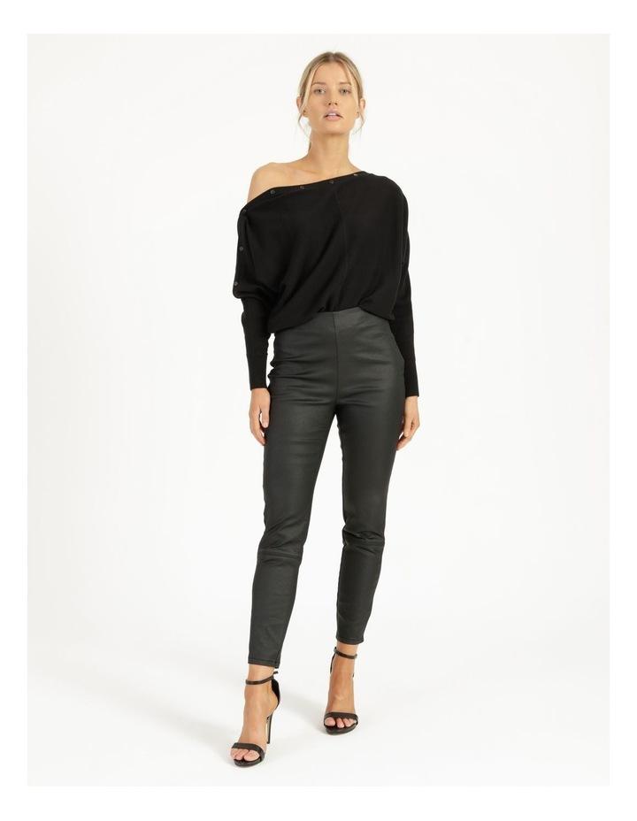 Drop Shoulder Long Sleeve Top Black image 4