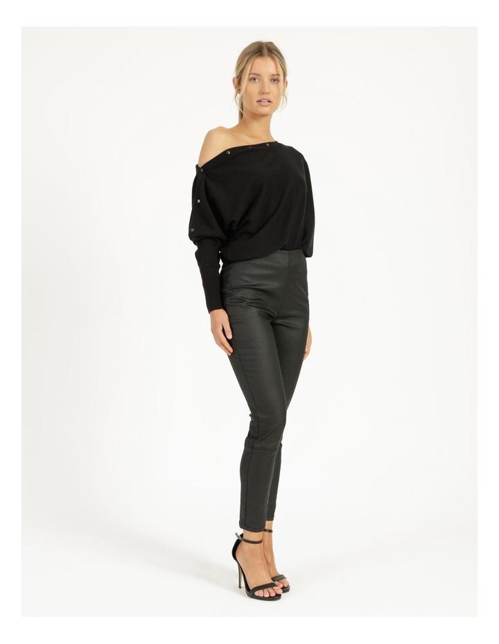 Drop Shoulder Long Sleeve Top Black image 5
