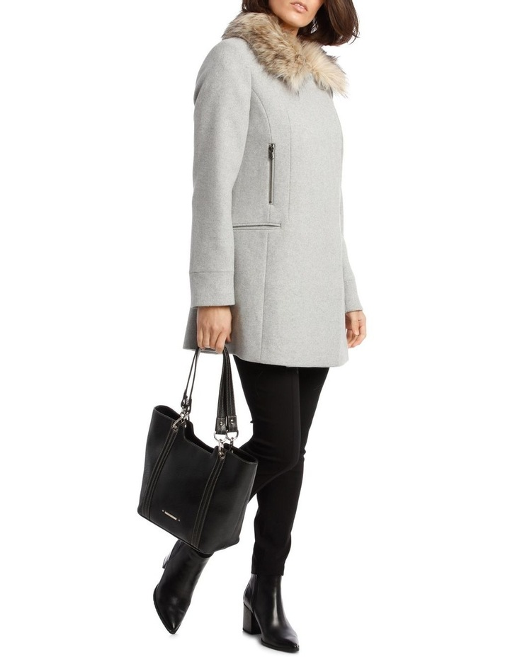 Essential Coat With Zips And Faux Fur Collar image 4