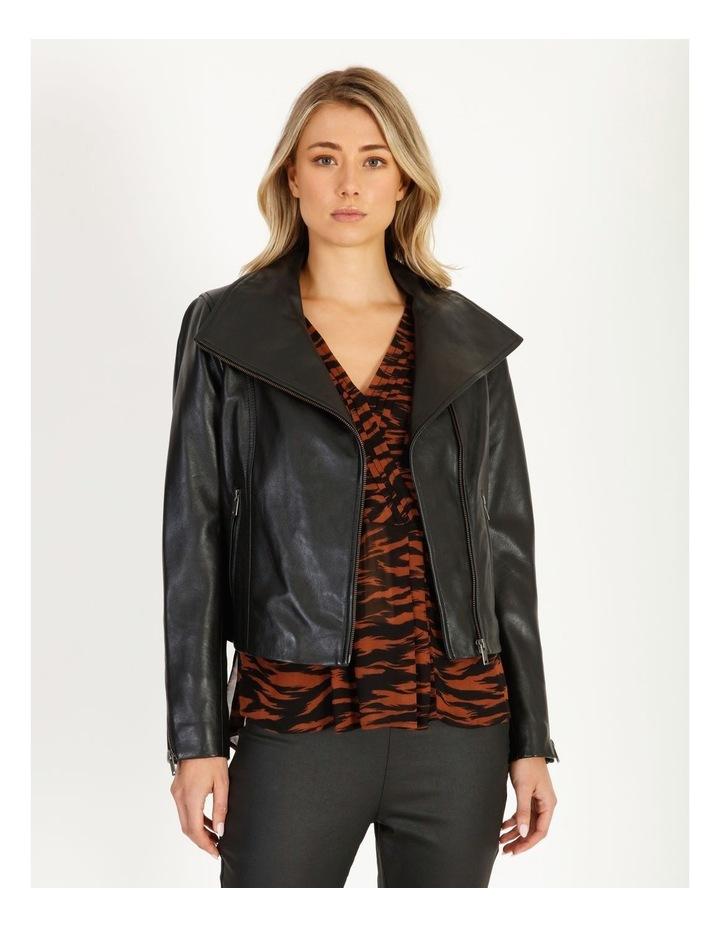 Black Leather Biker Jacket image 1