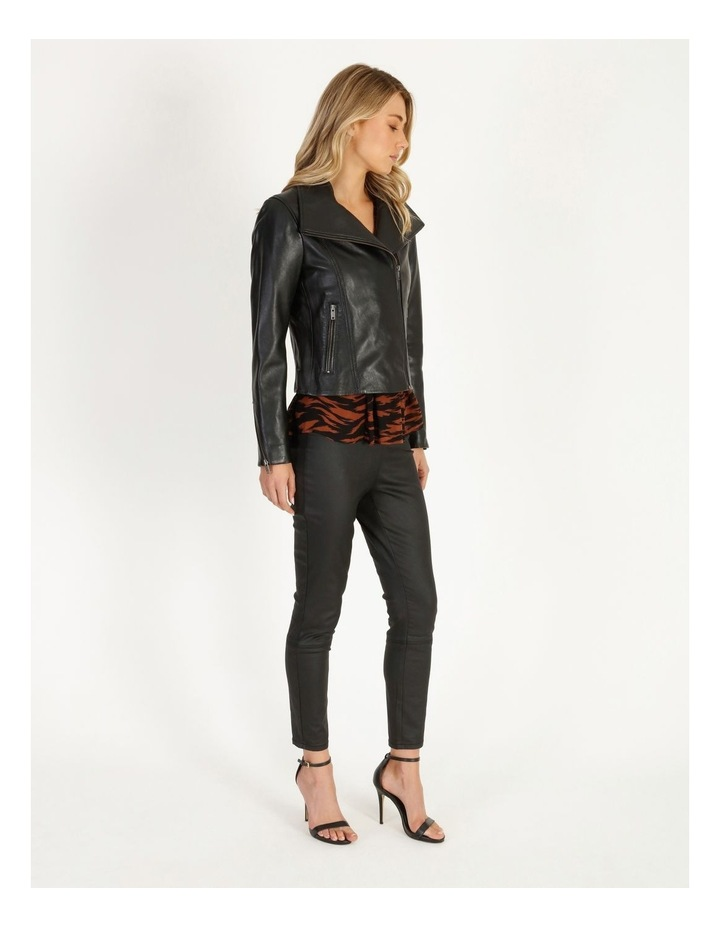 Black Leather Biker Jacket image 2