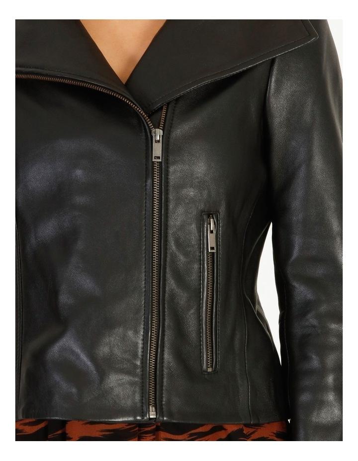 Black Leather Biker Jacket image 4