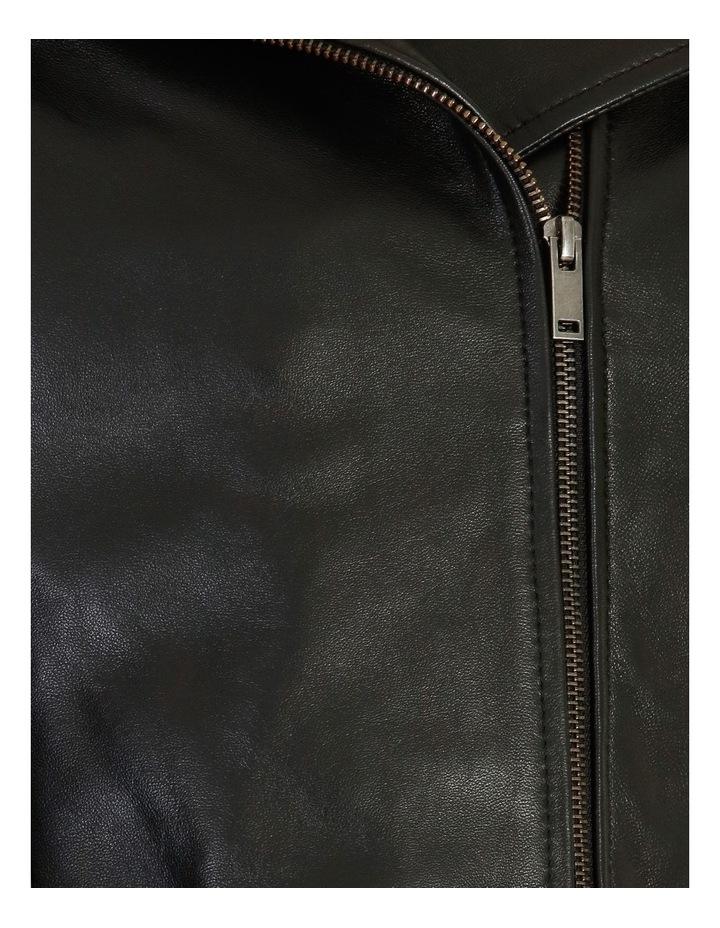 Black Leather Biker Jacket image 5