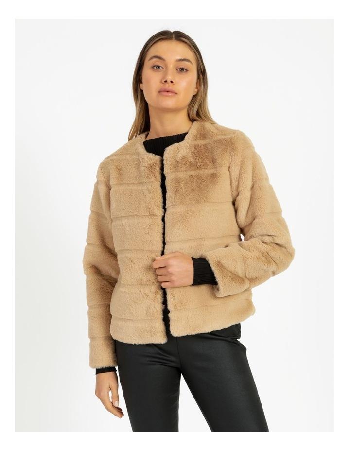 Collarless Fur Jacket image 1