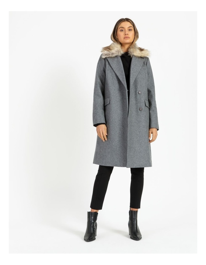 Fur Collar Coat Grey Marle image 1