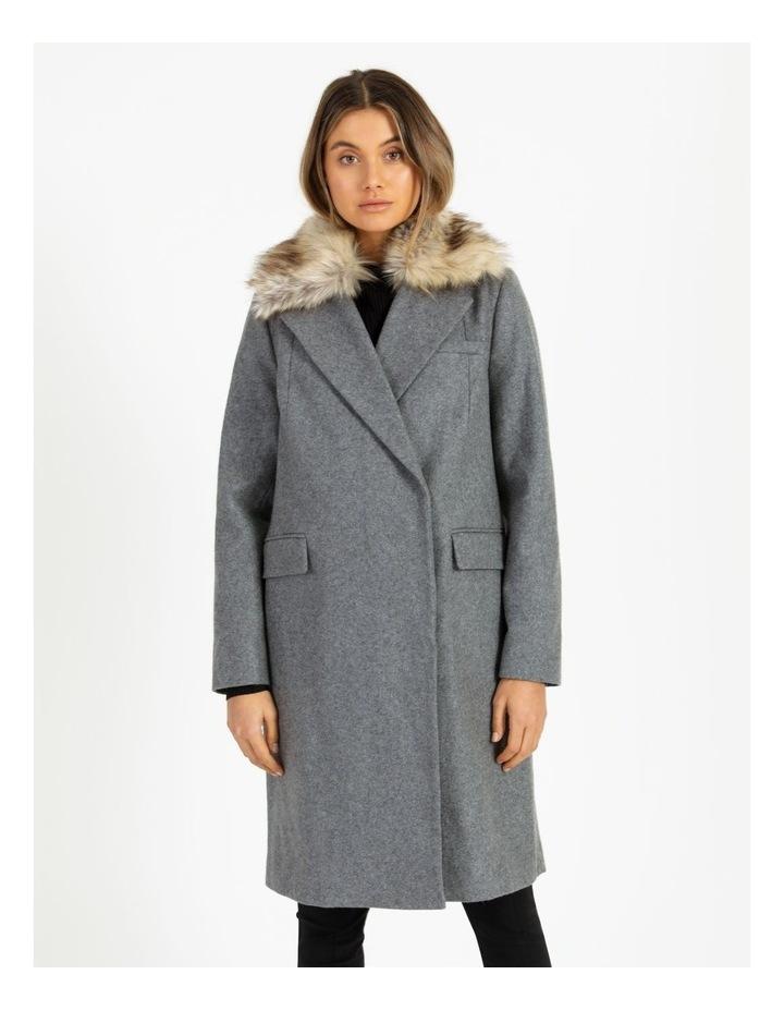 Fur Collar Coat Grey Marle image 5