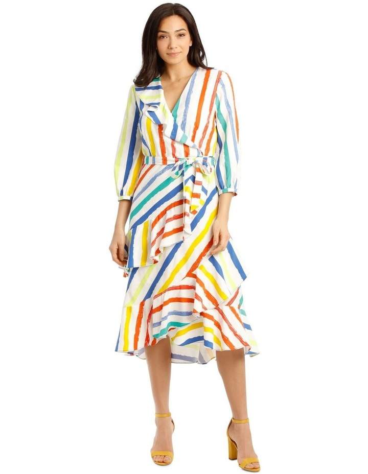 Printed Stripe Wrap Maxi Bell Sleeve Dress image 1