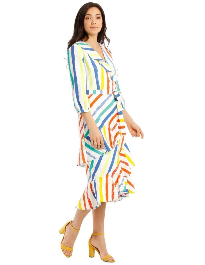 Printed Stripe Wrap Maxi Bell Sleeve Dress image 2