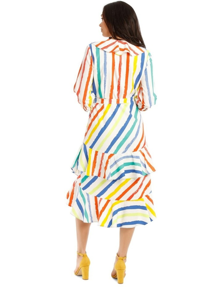 Printed Stripe Wrap Maxi Bell Sleeve Dress image 3