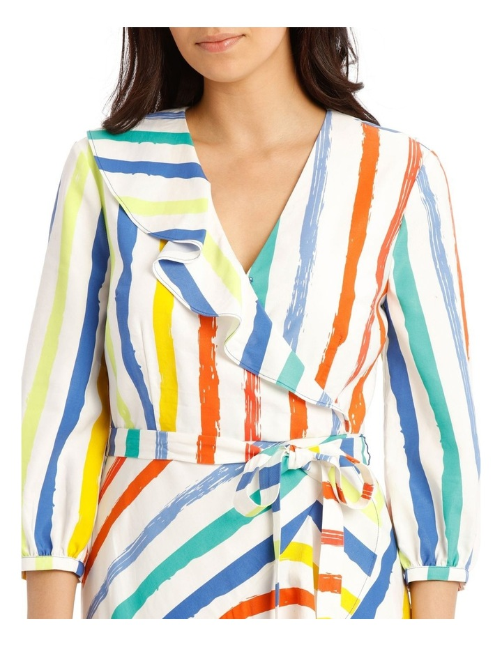 Printed Stripe Wrap Maxi Bell Sleeve Dress image 4