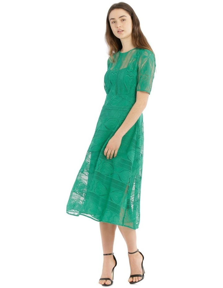 Embroidered Lace Contrast Midi Dress image 1